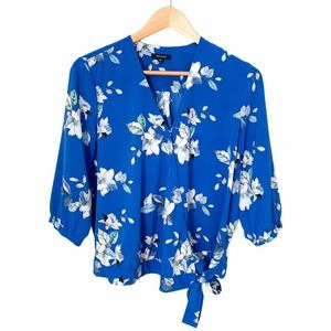 RW&CO Blue Floral Print Blouse with Front Tie